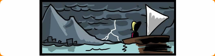 Image of Bi-Polar girl on her dinghy approaching a storm