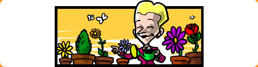 Image of Bi-Polar Girl happily watering her plants