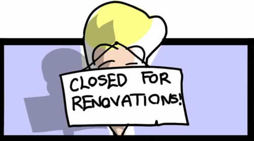 Gabrielle with Closed for Renovations sign